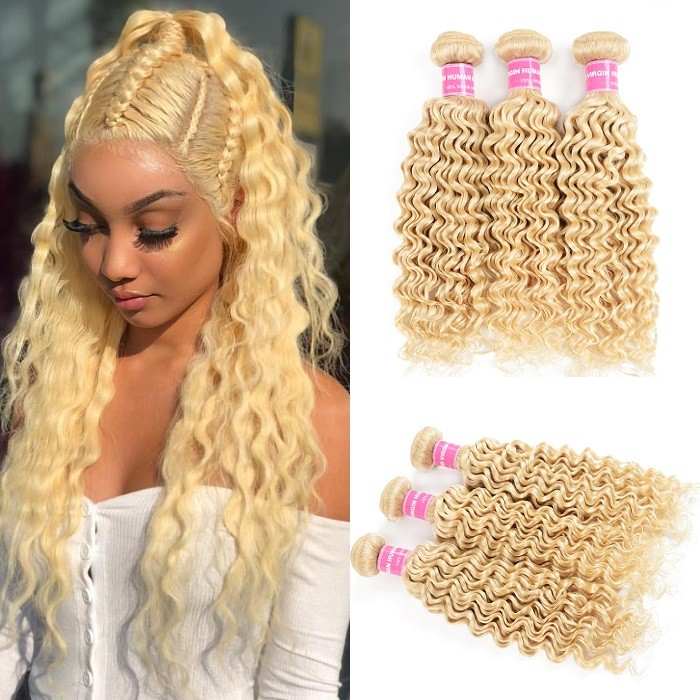 Kriyya Peruvian Hair 613 Blonde Deep Wave 3 Bundles Virgin Human Hair