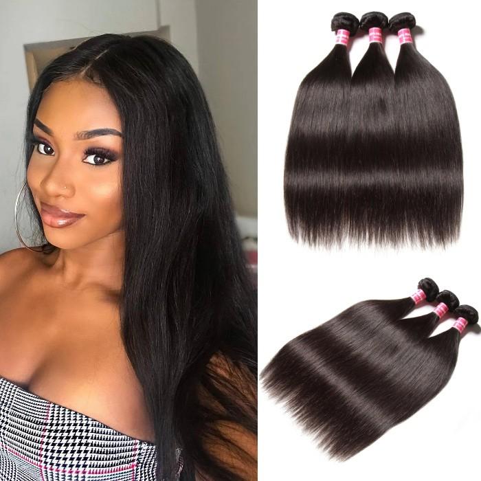 Kriyya Peruvian Hair Straight 3 Bundles Human Hair Extension 9A Virgin Hair