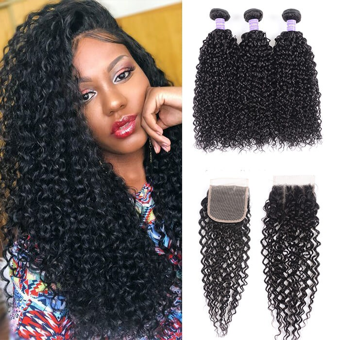 Kriyya Peruvian Jerry Curly Virgin 100 Human Hair 3 Bundles With Lace Closure 4 X 4 Inch