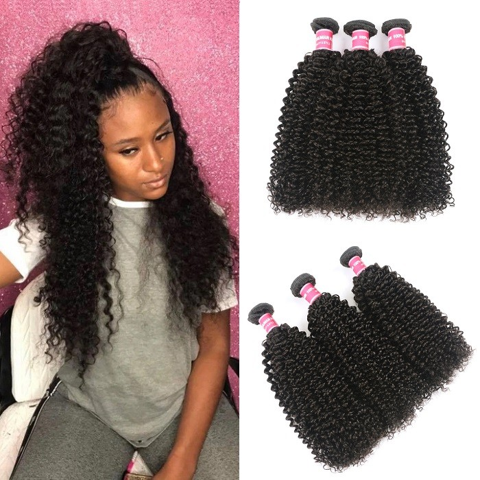Kriyya Peruvian Kinky Curly 3 Bundle Deals Unprocessed Human Hair Weave