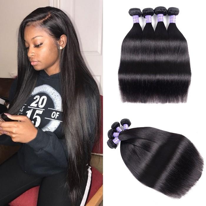 Kriyya Peruvian Straight Hair 4 Bundles Virgin Human Hair Weaving