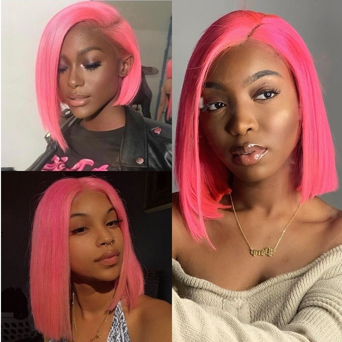 Kriyya Pink Bob Human Hair Wigs 13x4 Straight 180% Density Blunt Cut Lace Front Wigs
