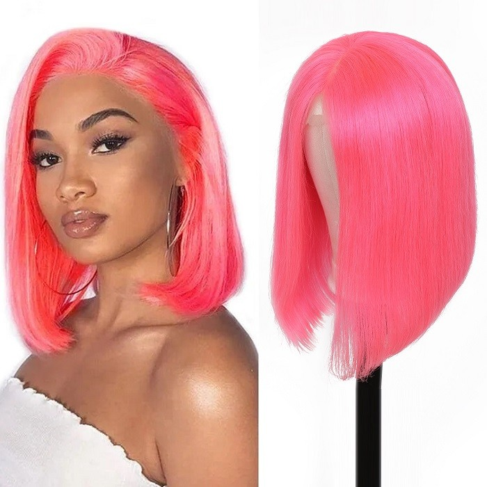 Kriyya Pink Bob Human Hair Wigs 13x4 Straight Lace Front Wigs 130% Density
