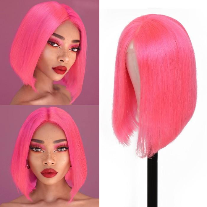 Kriyya Pink Straight  Bob Lace Front Wigs 150% Density Human Hair Wigs