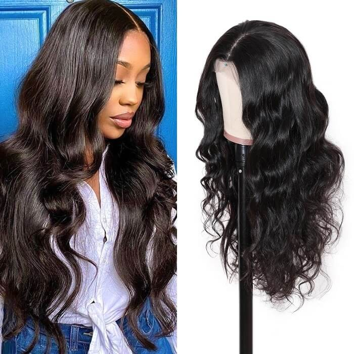 Kriyya 4x4 Lace Closure Wig Pre Plucked Body Wave 7a Remy Hair Wig Natural Black 150% Density