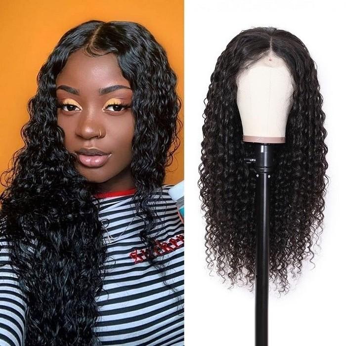 Kriyya Pre-Plucked 360 Lace Wigs Deep Wave Human Hair 180% Density Wig Bleached Knots