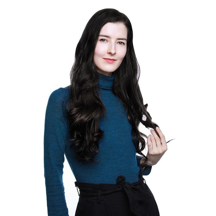 Kriyya 160g Clip In Hair Extensions Jet Black Real Hair 16-24 inch Hair Extensions
