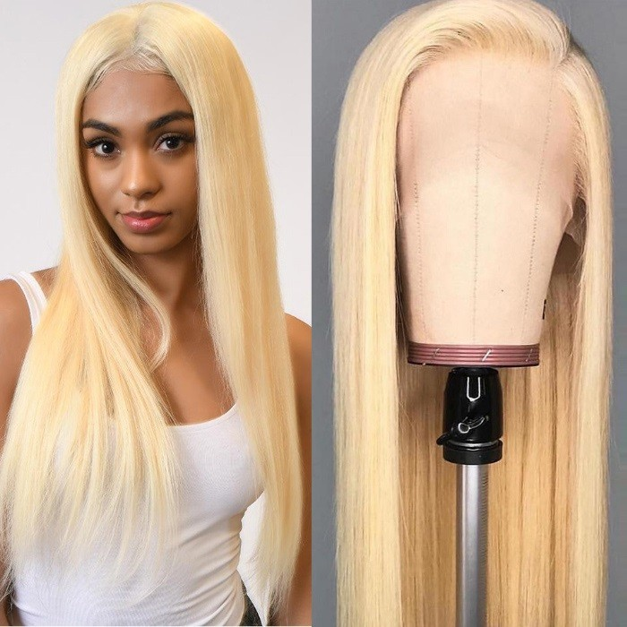 Kriyya Straight 613 Blonde 13x4 Lace Front Wigs Pre-plucked Human Hair Wig 150% Density