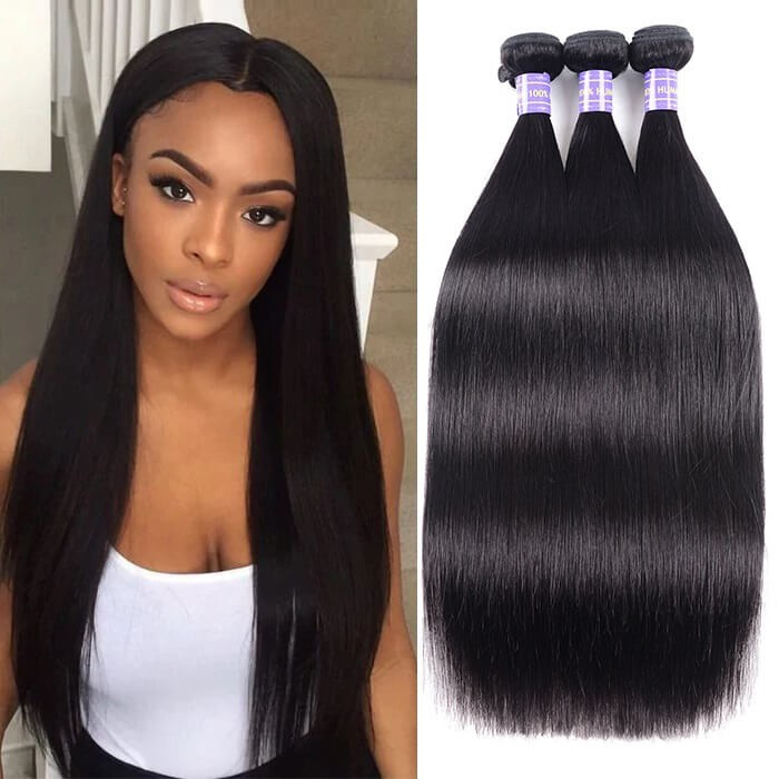 Kriyya Straight Hair Weave 3 Bundles Hair Bundle Deals Indian 100% Human Hair