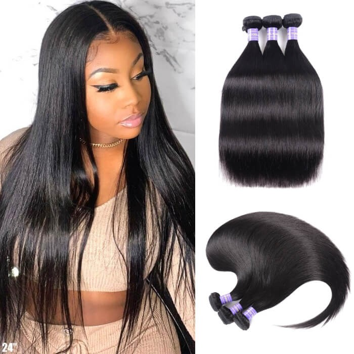 Kriyya Straight Hair Weave 3 Bundles Hair Bundle Deals Indian 100% 7A Human Hair