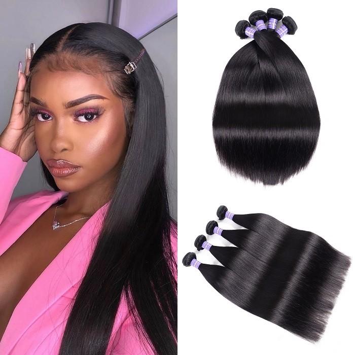 Kriyya 4 Pcs Straight Human Hair Bundles Indian Virgin Remy Hair 7A Hair