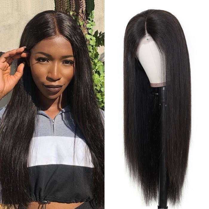 Kriyya Straight Human Hair Wigs Pre Plucked 4x4 Human Hair Lace Wig 150%/180% Density