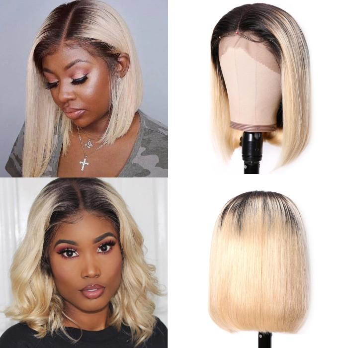 Kriyya T1B613 Ombre Blonde 13X4 Lace Front Wigs Blunt Cut Human Hair Bob Wigs 130% 150% Density