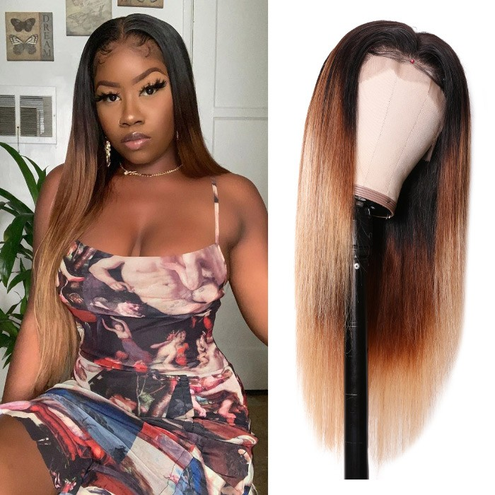 Kriyya T427 Color 13x4 Straight Lace Front Human Hair Wigs Pre-plucked With Baby Hair 150% Density