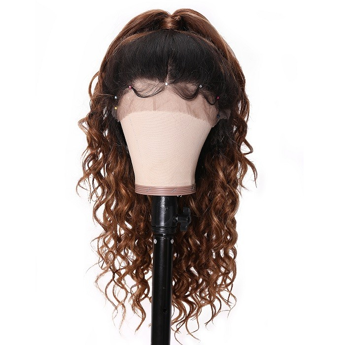 Kriyya T4/27 Ombre Hair Color 13x4 New Curly Lace Front Wigs 150% Density Pre Plucked Lace Front Wigs