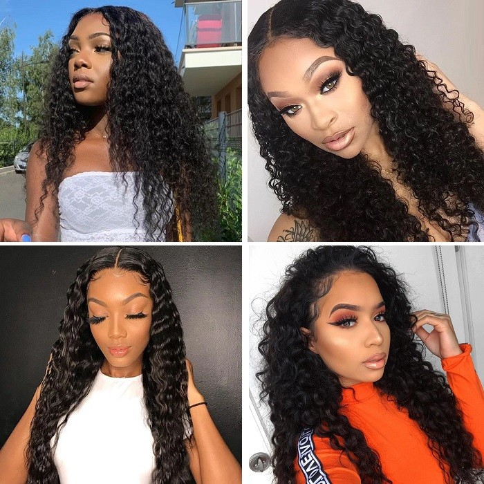 Kriyya Pre-Plucked Deep Wave 360 Lace Frontal Wigs Human Hair 150% Density  Remy Wigs