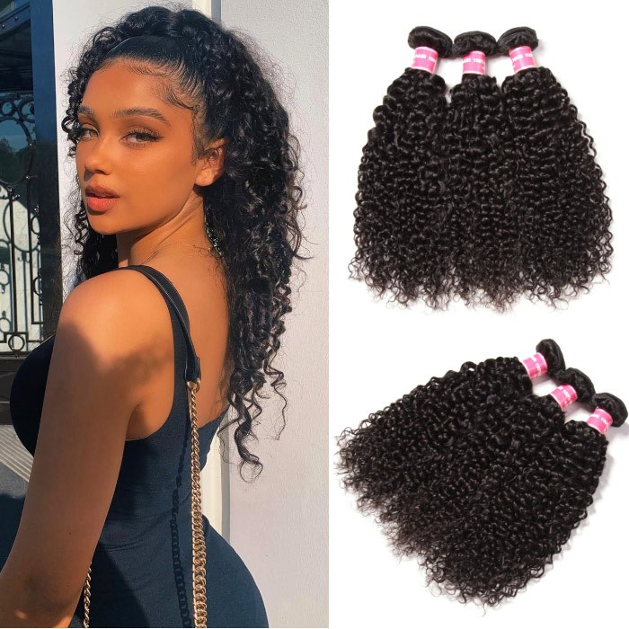 Kriyya Unprocessed Brazilian Curly Human Hair 3 Bundle Deals 9A Virgin Hair
