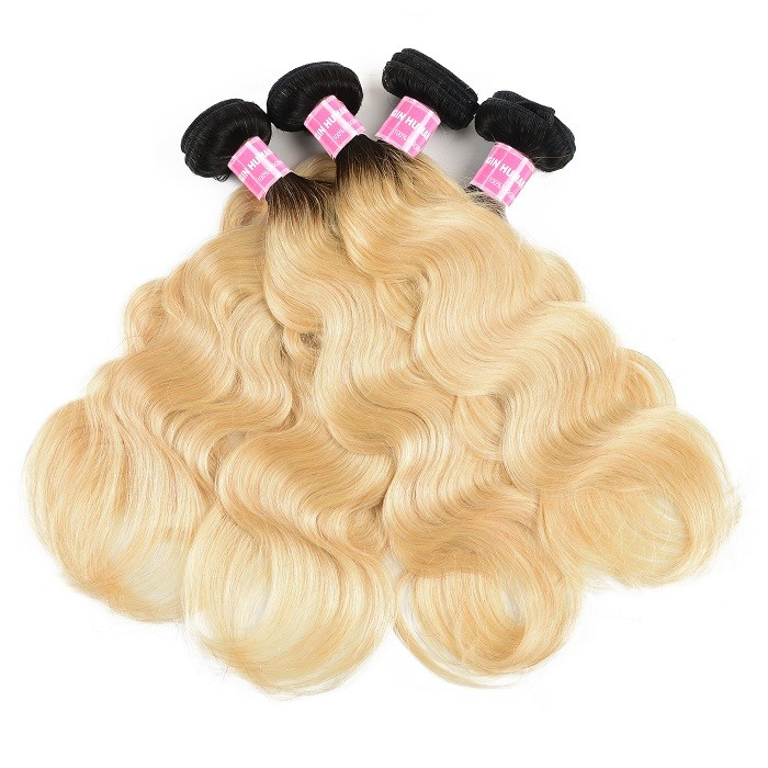 Kriyya Unprocessed Peruvian Virgin Hair 4 Bundles T1B/613 Ombre Blonde Body Wave Weave