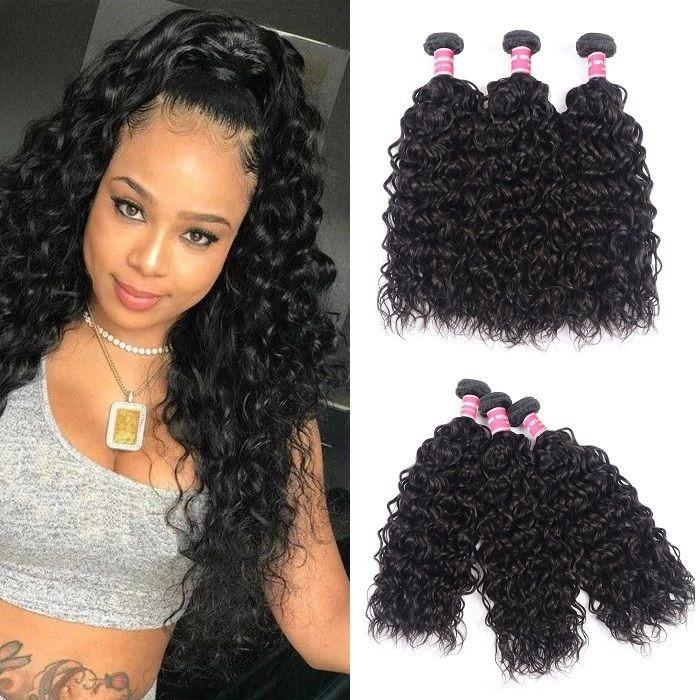 Kriyya Water Wave 100 Human Hair Bundles 3 Pcs Peruvian Virgin Hair