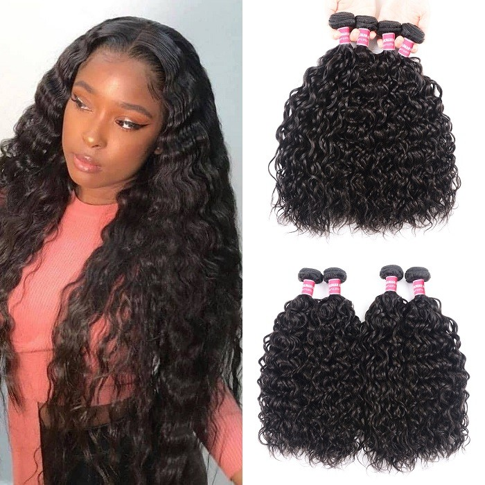 Kriyya Water Wave Bundles 4 Pcs Indian Virgin Hair Weave Hair
