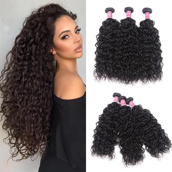 Kriyya Water Wave Hair 100% Virgin Human Hair 3 Bundles Weave Hair