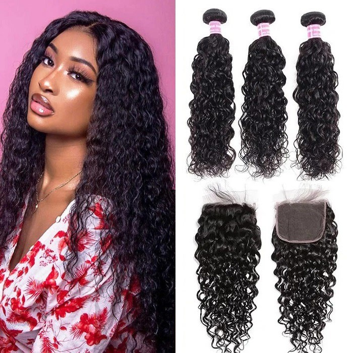Kriyya Water Wave Remy Human Hair 3 Bundles With Lace Closure 4*4 Inch Indian Hair