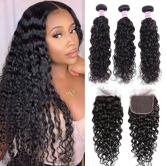 Kriyya Water Wave Unprocessed Human Hair 3 Bundles With Lace Closure 4 X 4 Inch Peruvian Hair