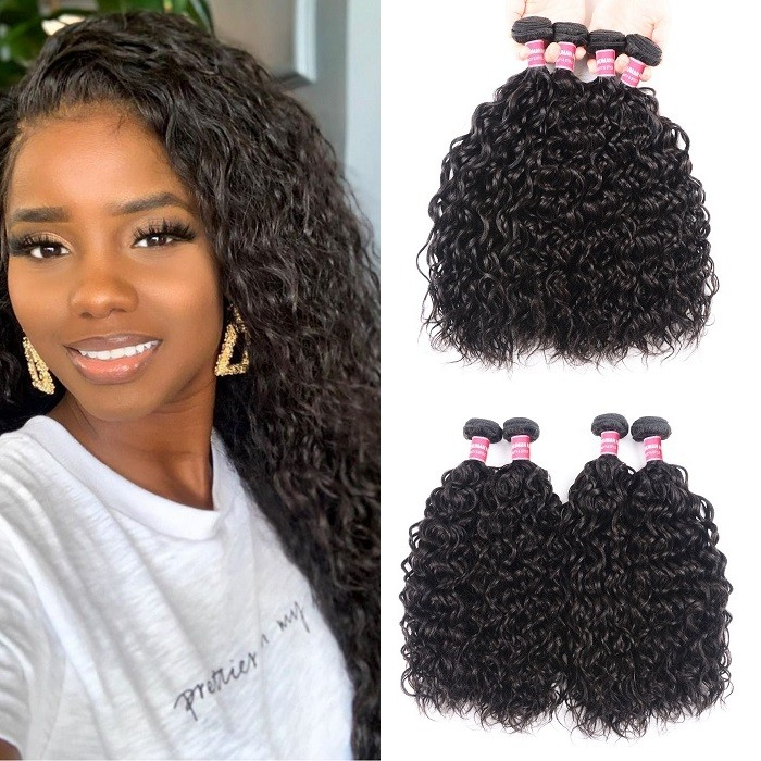 Kriyya Water Wave Unprocessed Virgin Hair 4 Bundles Human Hair Weave