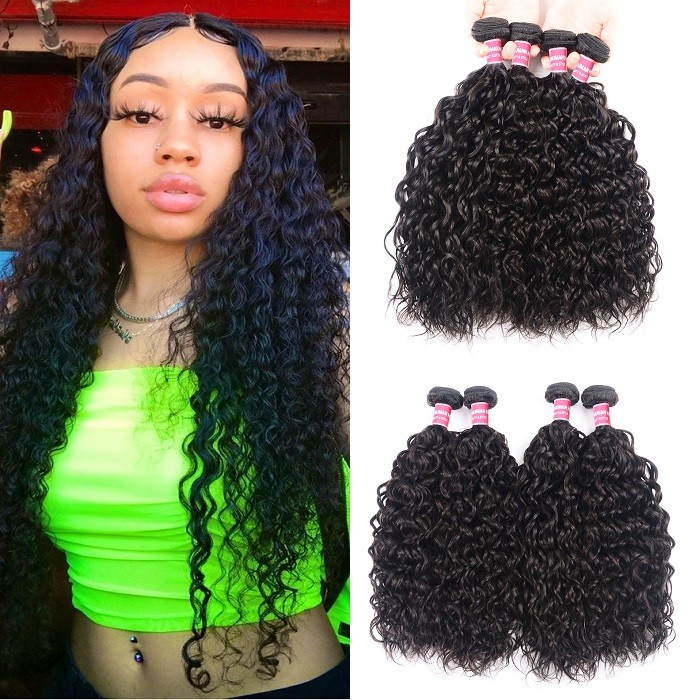 Kriyya Water Wave Virgin Hair 4 Bundles 100 Human Hair Weave 8-26 Inches