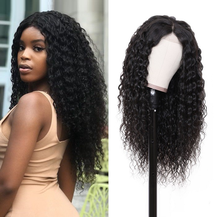 Kriyya Water Wave Wig 13x6 Deep Parting Lace Frontal Wig Human Hair 150% Density