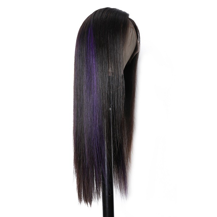 Kriyya Wigs Purple Highlight Color 13x4 Lace Frontal Wigs Straight human Hair Wigs 150% Density