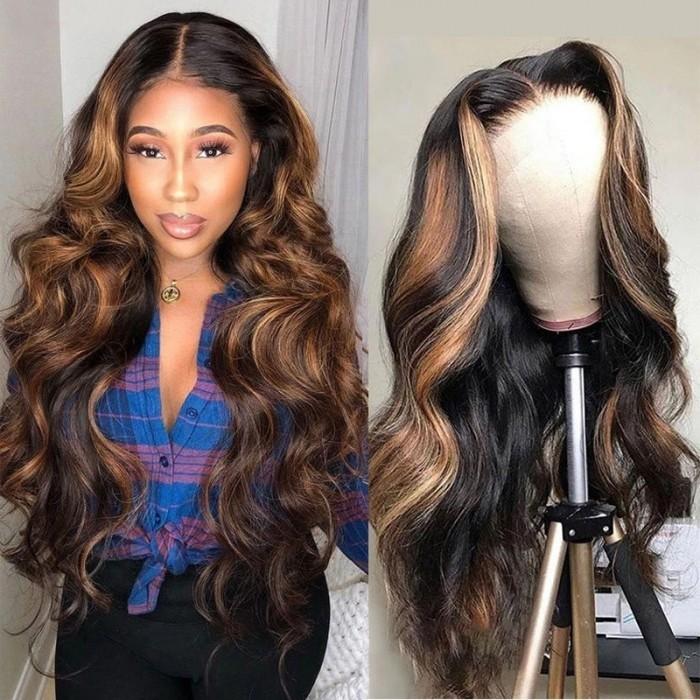 Kriyya 13x4 Lace Front Wigs Balayage #FB30 Body Wave Bronde Highlight Human Hair Wigs 150% Density