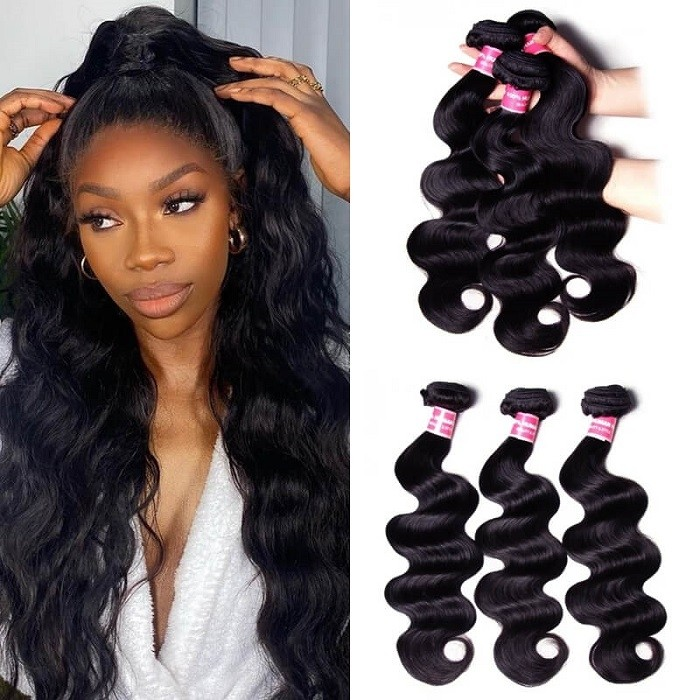 Kriyya 3 Bundles Brazilian Body Wave Hair 100 Human Hair Bundles 9A Virgin Hair