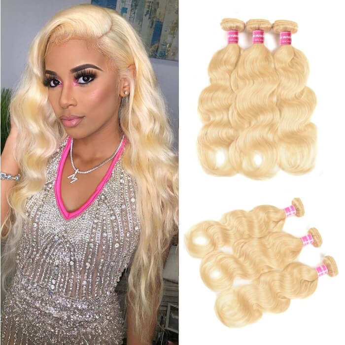 Kriyya 3 Bundles Brazilian Body Wave Hair 613 Color 100 Human Hair Bundles