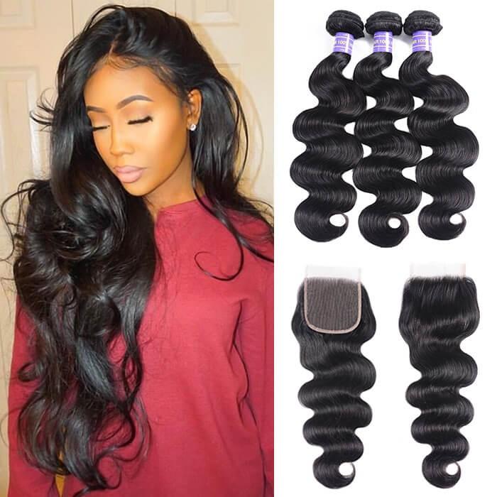 Kriyya 3 Pcs Body Wave With 4*4 Lace Closure Malaysian 100% Virgin Hair