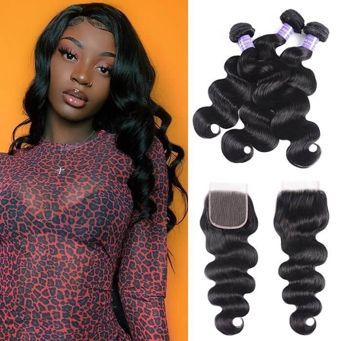 Kriyya Indian 3 Bundles With 4*4 Lace Closure Body Wave 100% Human Hair