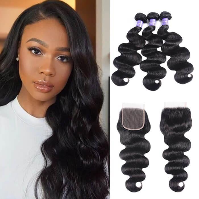 Kriyya Body Wave 100% Virgin Hair Peruvian 3 Bundles With 4*4 Lace Closure