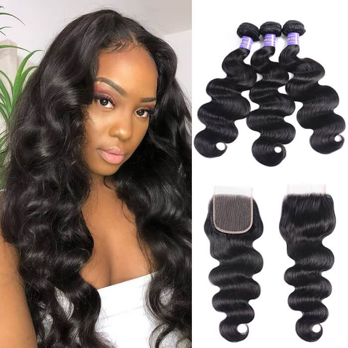 Kriyya Body Wave 100 Human Hair 3 Bundles With 4*4 Lace Closure Brazilian Hair