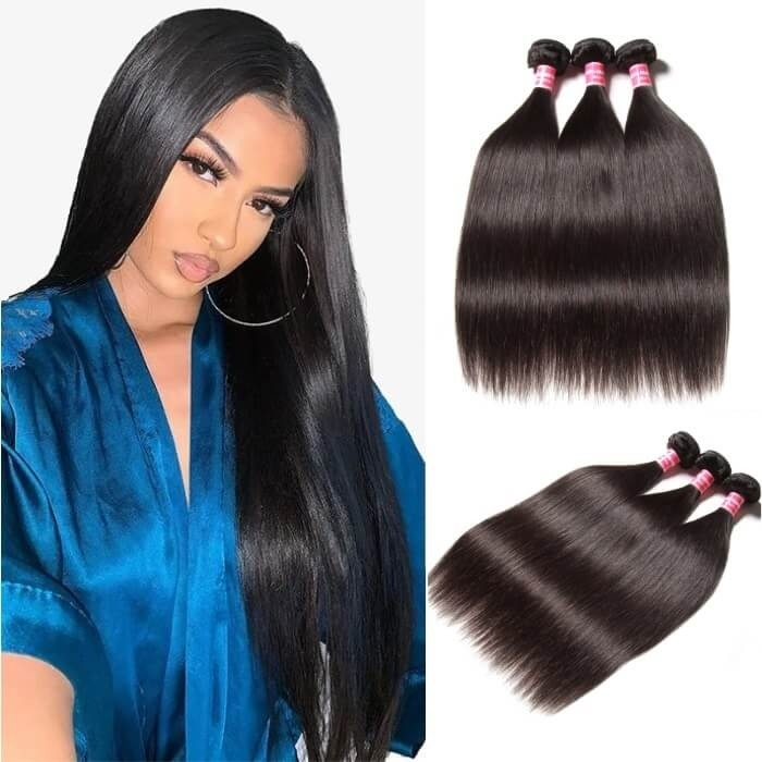 Kriyya 3 Pcs Straight Hair Weave Unprocessed Indian Human Hair 9A Virgin Hair