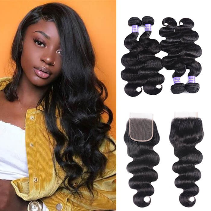 Kriyya Peruvian Body Wave Bundles With 4x4 Closure Virgin Human Hair