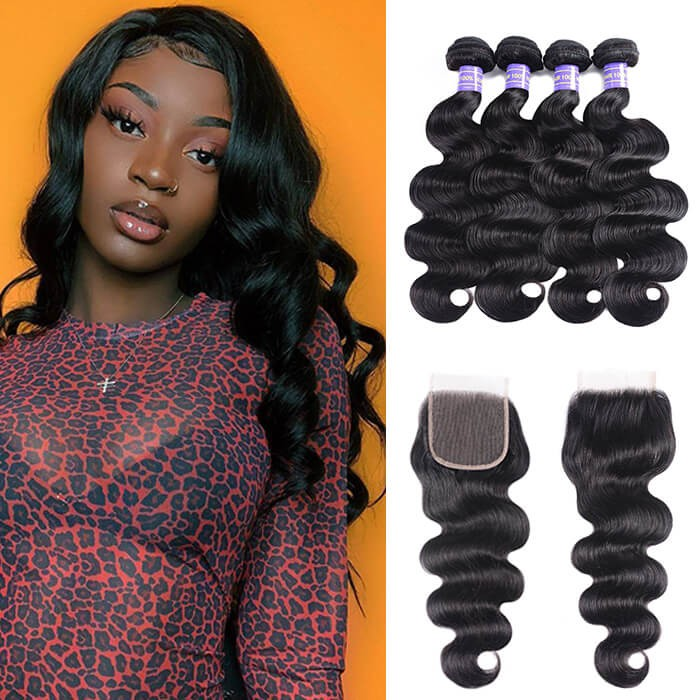 Kriyya Brazilian Body Wave Closure With 4 Bundles Virgin Human Hair