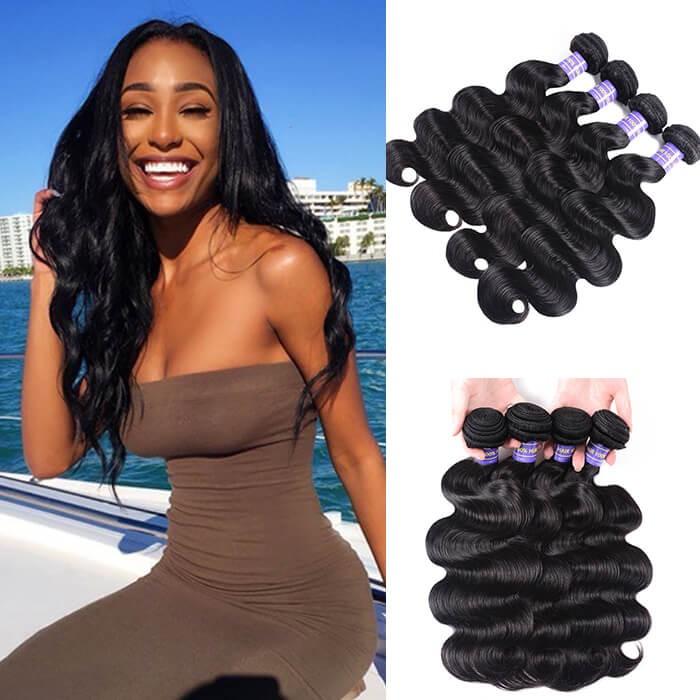 Kriyya Body Wave Bundles 4 Pcs Brazilian 100% Virgin Hair