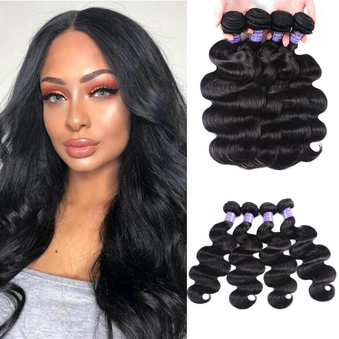 Kriyya Body Wave 4 Bundles Malaysian Virgin Hair 7A Human Hair Weave