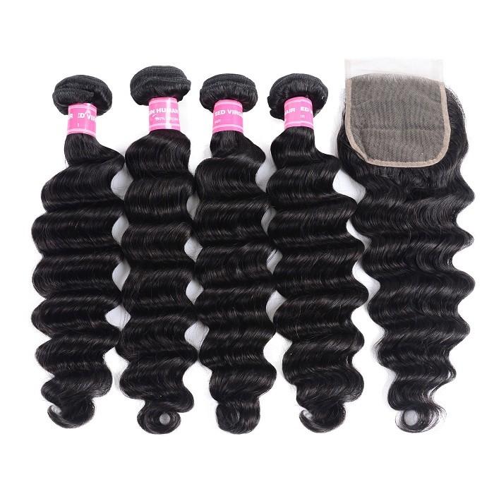 Kriyya Indian Loose Wave Sew In Hair Weave 4 Bundles With 4x4 Closure