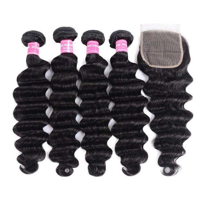 Kriyya Loose Wave Malaysian Human Hair 4 Bundles With Closure