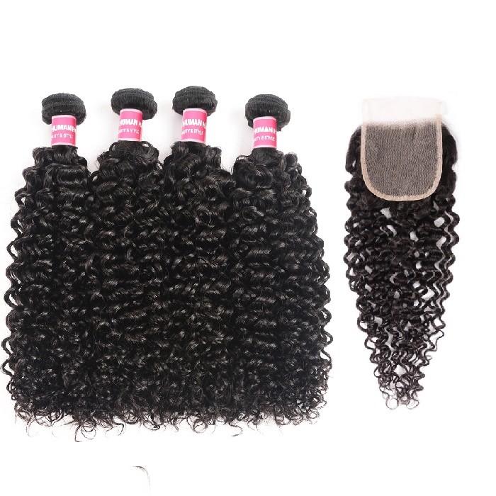 Kriyya Brazilian Hair 4x4 Transparent Lace Closure With 4 Bundles Jerry Curly Human Hair