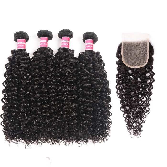 Kriyya peruvian Jerry Curly Sew In Weave 4 Bundles With 4x4 Transparent Lace Closure