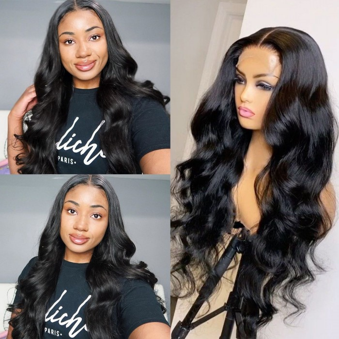 Kriyya 5x5 HD Transparent Lace Closure Wig Body Wave Human Hair Wigs 180 Density