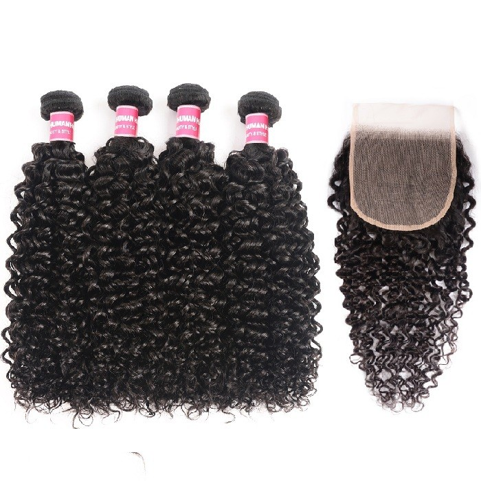 Kriyya Indian Curly 4 Bundles With 5x5 Hd Transparent Lace Closure