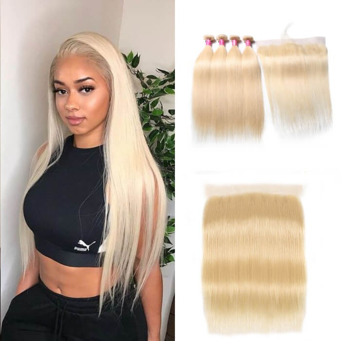 Kriyya 613 Blonde Indian Straight Hair 4 Bundles With 13x4 Lace Frontal